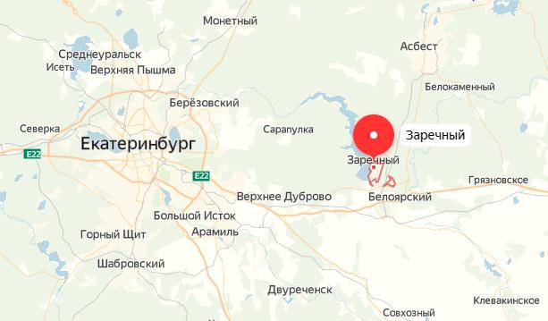 Заречный на карте, Белоярская АЭС