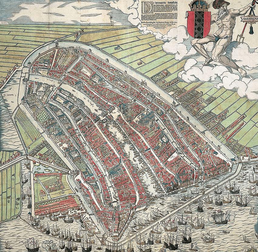 Амстердам с высоты птичьего полета.1544-год