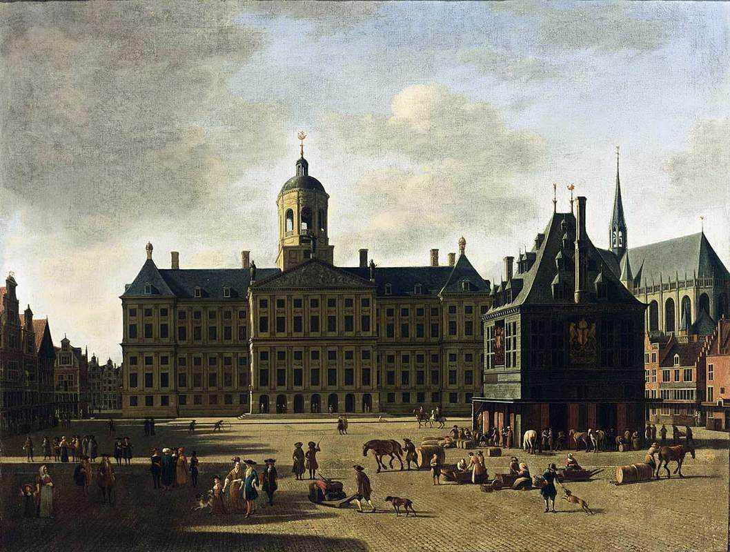 Геррит-Адрианс.-Amsterdam.-View-of-the-Dam-with-the-Town-Hall.-1697-год