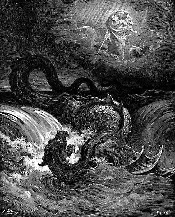 Убийство Левиафана.-Гравюра-Гюстава-Доре-1865-год