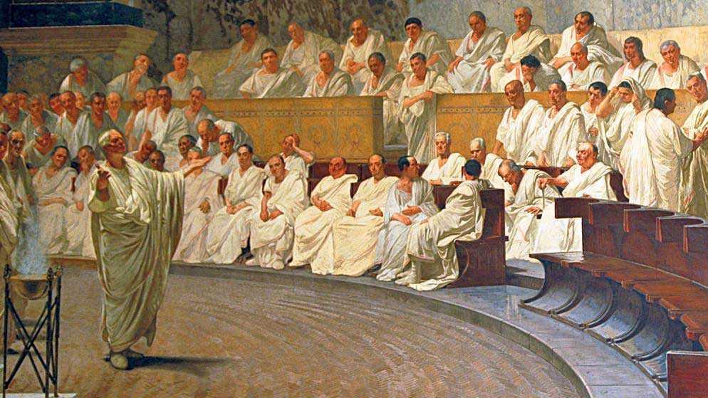 Цицерон выступает в римском сенате