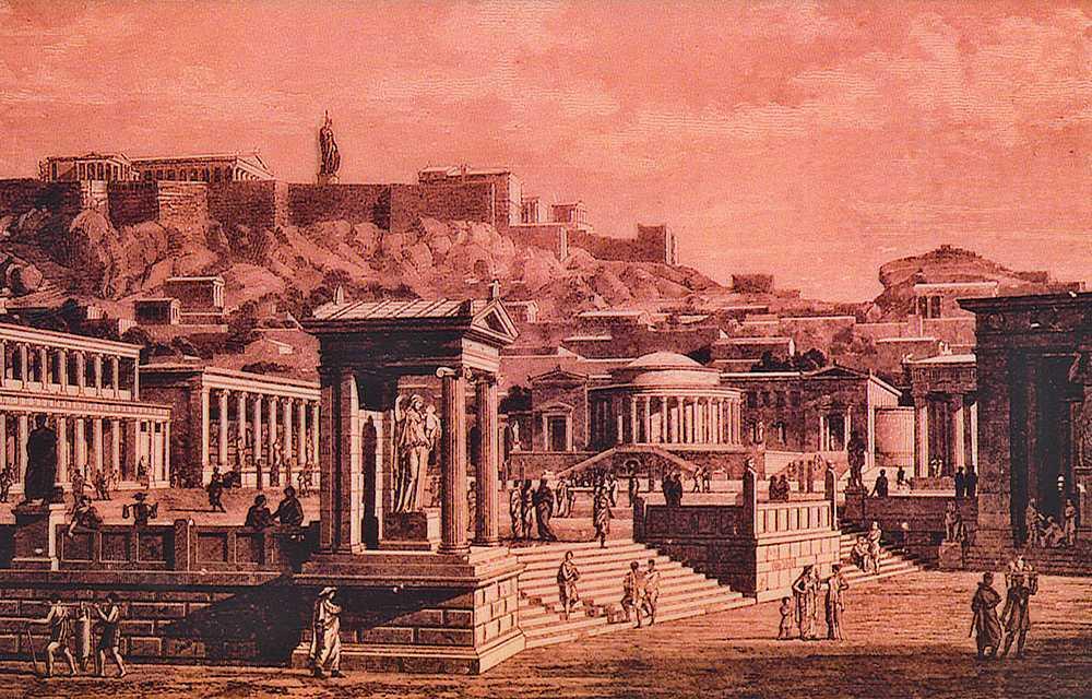 агора-экономический-и-политический-центр-античных-Афин-реконструкция-рисунок-XIX-в.