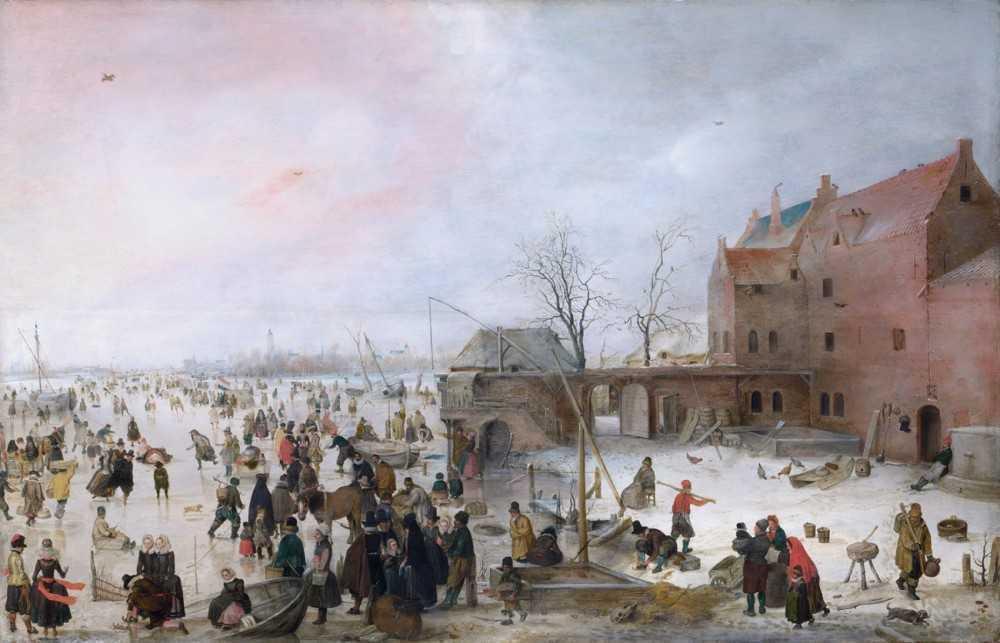 Хендрик Аверкамп. Зимняя сцена с фигуристами возле замка. 1615 год