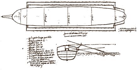 Алессандро Пичерони дела Мирандола чертеж галеры