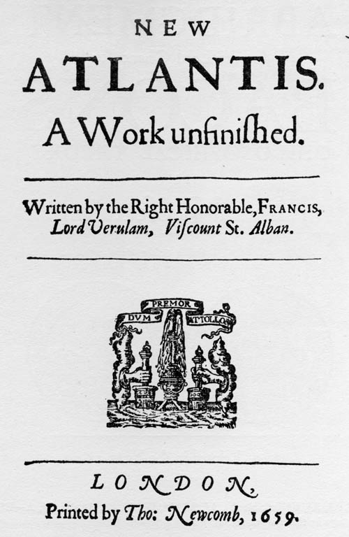 Titlepage to Francis Bacon's 'New Atlantis' (1659)