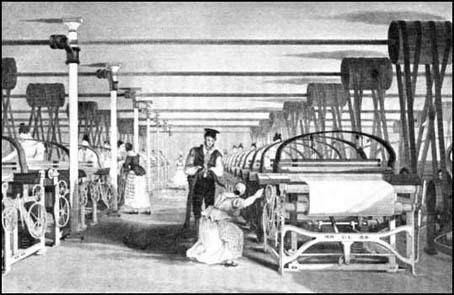 illustration of power loom weaving